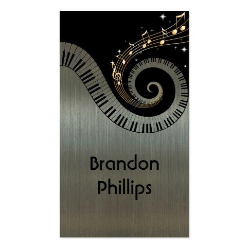 El piano metálico impreso del efecto cierra música plantillas de tarjetas personales