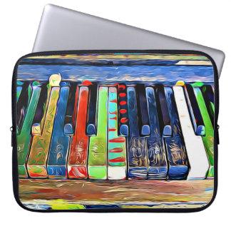 El piano pintado colorido cierra la bolsa de asas