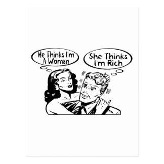 Él piensa que ella piensa postal