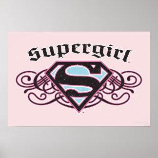 El Pin de Supergirl pela negro y rosa Póster