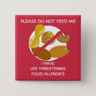 El Pin peligroso para la vida de la alergia de la Chapa Cuadrada