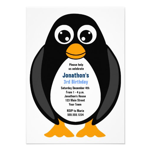 El pingüino de encargo lindo de la fiesta de cumpl comunicados personalizados