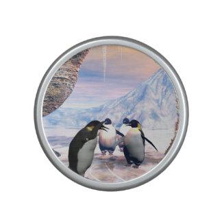 El pingüino divertido va en un mar con hielo altavoz con bluetooth