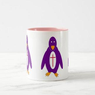 el pingüino emplea la PARTE POSTERIOR del BLANCO Taza De Dos Tonos