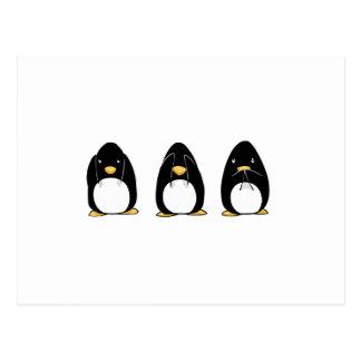 El pingüino lindo ve que hablar no oiga ningún mal postal