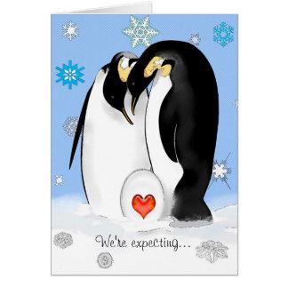 El pingüino Parents la invitación de la fiesta de Tarjeta De Felicitación