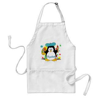 El pintor artístico del pingüino personaliza delantal