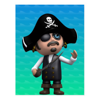 el pirata 3d mira para arriba (cualquier color U c Postal