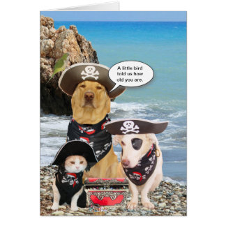 El pirata divertido acaricia cumpleaños tarjeta de felicitación