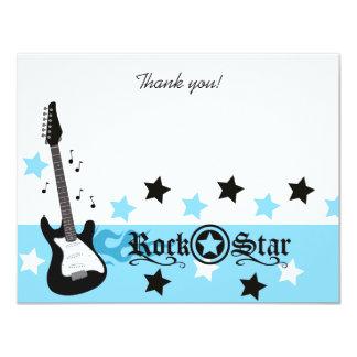 El plano azul de la estrella del rock 4x5 del eje invitación 10,8 x 13,9 cm