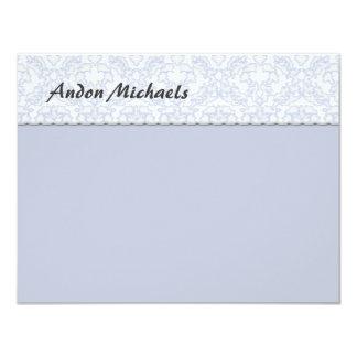 El plano azul del damasco elegante le agradece invitación 10,8 x 13,9 cm