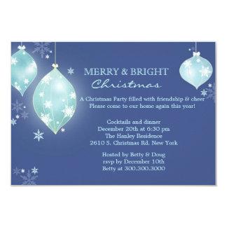 El plano azul helado de la fiesta de Navidad de Invitación 8,9 X 12,7 Cm