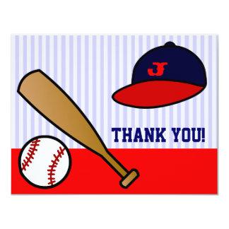 El plano de encargo lindo del béisbol le agradece invitación 10,8 x 13,9 cm