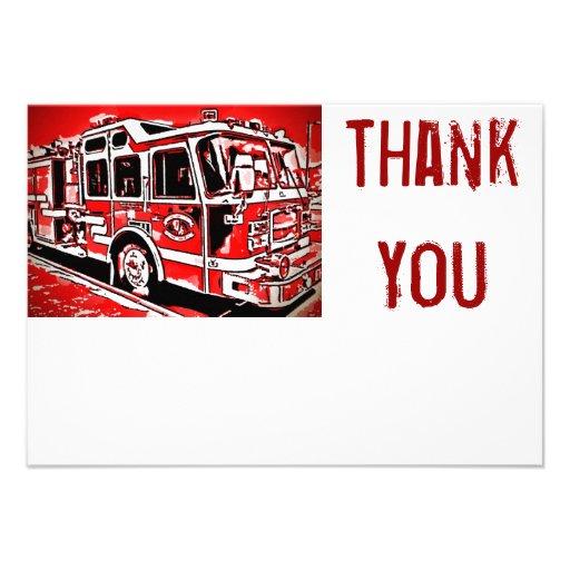 El plano del bombero del motor del coche de bomber invitaciones personales