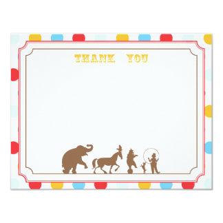 El plano del fiesta del circo le agradece observar invitación 10,8 x 13,9 cm