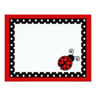El plano rojo lindo de la mariquita le agradece invitación 10,8 x 13,9 cm