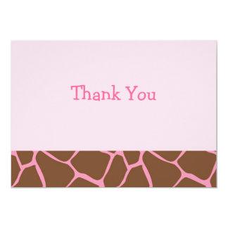 El plano rosado de moda del estampado de animales invitación 12,7 x 17,8 cm