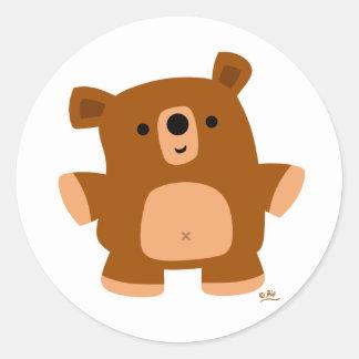 El poco oso pegatina redonda