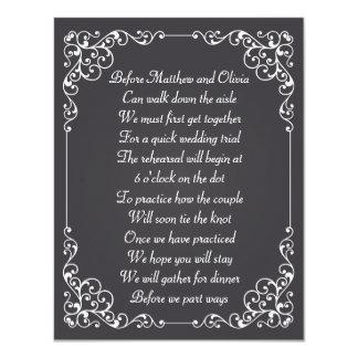 El poema adornado de la cena del ensayo de la tiza invitaciones personalizada