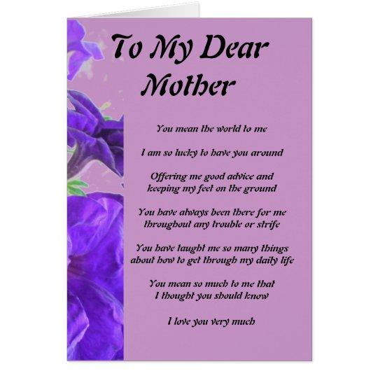 El poema de la madre tarjeta de felicitación