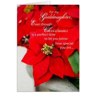 El Poinsettia de la ahijada sazona saludos Tarjeta De Felicitación