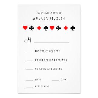 El póker del casino de Las Vegas carda casar la Invitaciones Personalizada
