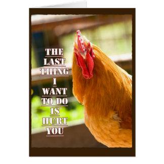 El pollo divertido, gallo consigue la tarjeta de