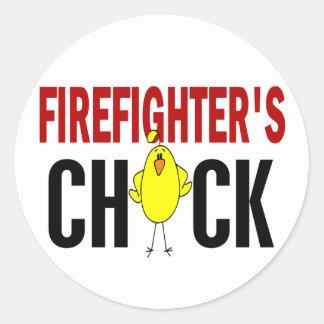 El polluelo del bombero etiquetas redondas