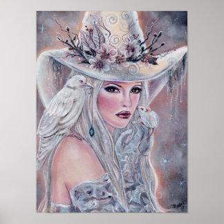 El poster blanco de la bruja con el cuervo de póster
