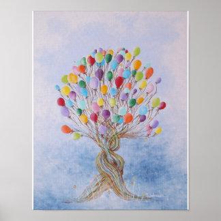 El poster de los niños del árbol del globo