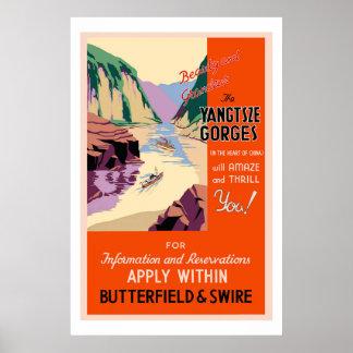 El poster del viaje del vintage de las gargantas d póster