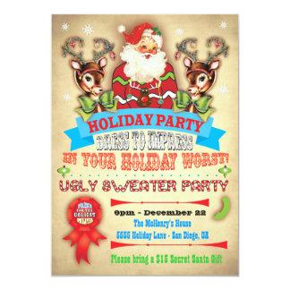 El poster feo de la fiesta de Navidad del suéter Invitación 12,7 X 17,8 Cm