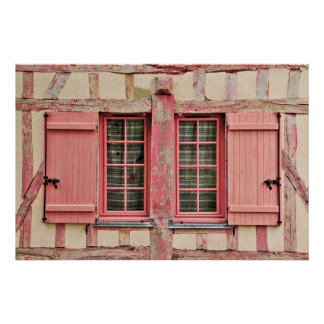 El poster rosado de Troyes Francia de la ventana