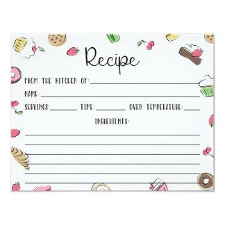 El postre Doodles la tarjeta de la receta Invitación 10,8 X 13,9 Cm