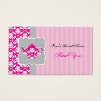El pote del té (rosa/gris) le agradece marcar con tarjeta de negocios