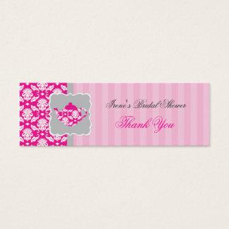 El pote del té (rosa/gris) le agradece marcar con tarjeta de visita pequeña