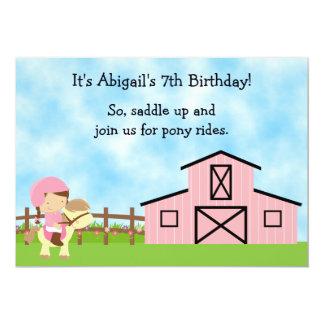 El potro lindo monta el caballo rosado del granero invitación 12,7 x 17,8 cm