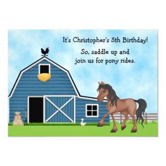 El potro monta a muchachos de la equitación que el invitación 12,7 x 17,8 cm