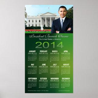 El presidente 2014 Barack Obama alcanza el calenda Posters