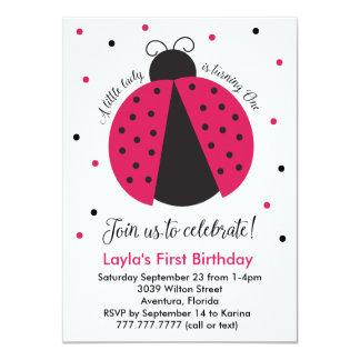 El primer cumpleaños de la niña rosada de la invitación 11,4 x 15,8 cm
