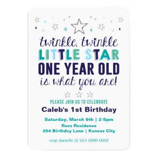 El primer cumpleaños de poco muchacho de la invitación 12,7 x 17,8 cm