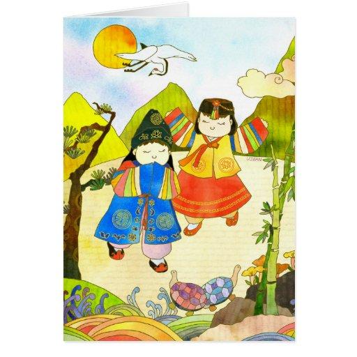 El primer cumpleaños del bebé coreano tarjetas