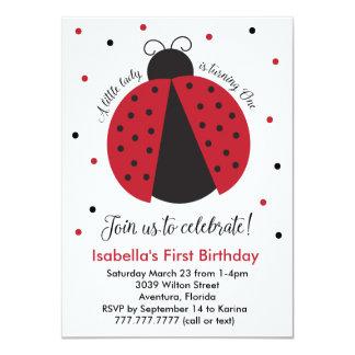El primer cumpleaños del chica rojo de la invitación 11,4 x 15,8 cm