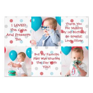 El primer cumpleaños le agradece cardar invitación 12,7 x 17,8 cm