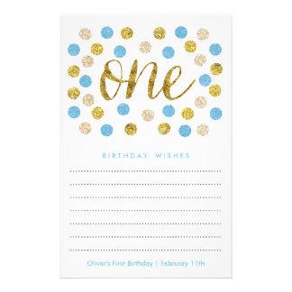 El primer deseo del cumpleaños carda el | azul y folleto 14 x 21,6 cm
