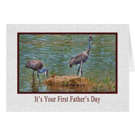 El primer día de padre, familia de la grúa de Sand Tarjeta