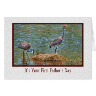 El primer día de padre, familia de la grúa de tarjeta de felicitación