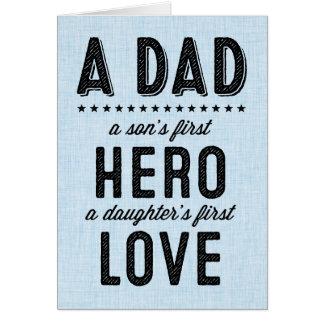 El primer héroe de un hijo, primera tarjeta del