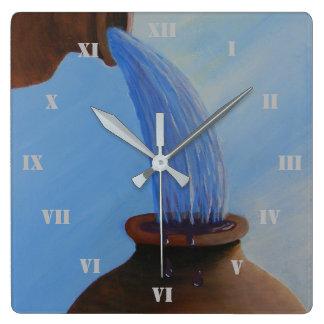 El primer milagro, agua en el reloj de pared del