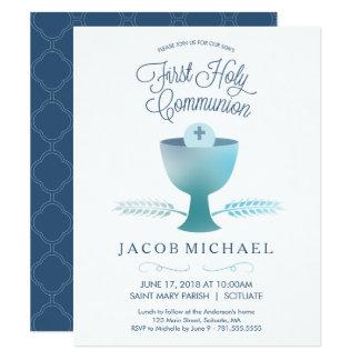 El primer muchacho de la invitación de la comunión